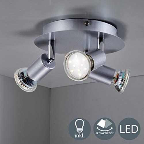 B.K.Licht - Lámpara LED de techo y forma redonda con 3 focos...