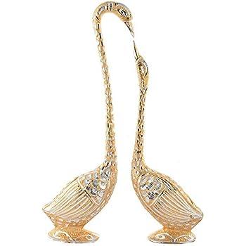 JaipurCrafts Pair of Kissing Duck Showpiece - 29 cm (Aluminium, Golden)