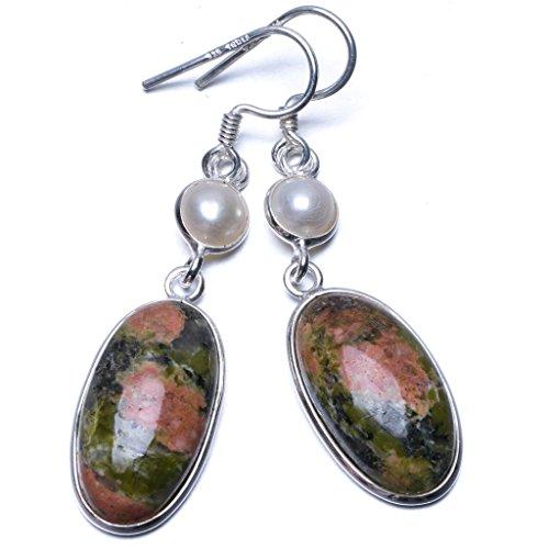 stargems-tm-verde-naturale-unakite-e-perla-di-fiume-unico-stile-punk-925-in-argento-sterling-orecchi