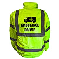 AMBULANCE Kids Hi Vis Yellow Bomber Jacket, Reflective High Visibility Safety Childs Coat, By Brook Hi Vis