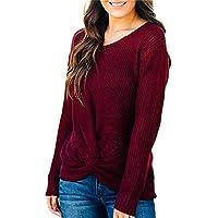 Damen Pullover Bluse Women Langarm O Neck Sweater Solid Tie vorne Strick Pullover Jumper