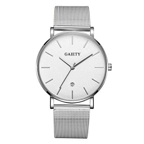 Floweworld Herren Business Uhren Mode einfach lässig Kalendernetz mit Armband Armbanduhren Geschenke für Männer -