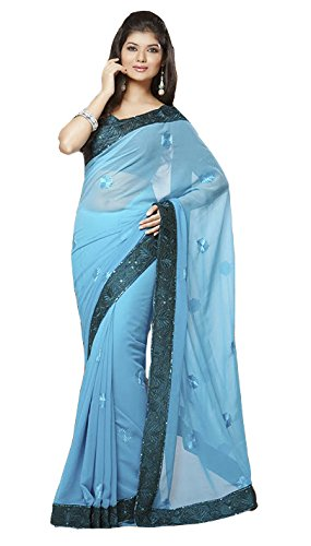 Party Designer Saree bollywood Georgette Blue None patch_work Party Traditional Sarees
