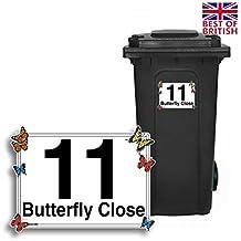 Lot de 4stickers personnalisés en vinyle avec numéro de maison et nom de rue pour poubelle à roulettes Motif papillons Taille A5