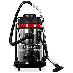 Klarstein IVC-80 - Aspiradora Industrial (80 L, 3000 W, aspiración seca y húmeda sin bolsa, doble motor) - negro metal