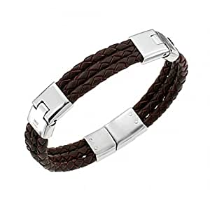 Cerruti - RH51237M - Bracelet Homme - Acier inoxydable - Cuir - Marron - 19.5 cm