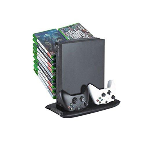 ALLCACA Xbox One X Spiel-Speicher-Rack Vertikaler Ständer-Kühlventilator Mehrzweck-Doppel-Controller Ladestation mit Disk Storage Tower für Xbox One X, Schwarz (One Gaming Tower Xbox)
