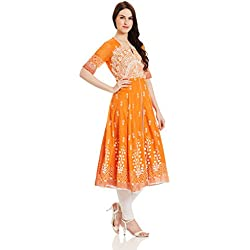 BIBA Women's Anarkali Synthetic Kurta (MUD ART 12377_Orange_42)
