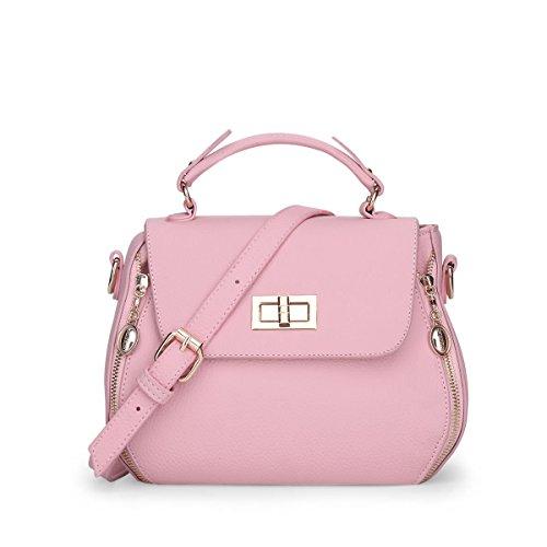 HQYSS Damen-handtaschen PU-lederner einfacher Frauen-Schulter-Kurier-Beutel-feste Farben-wilde leichte Handtaschen-justierbare Crossbody Beutel-abnehmbare Einkaufstasche pink