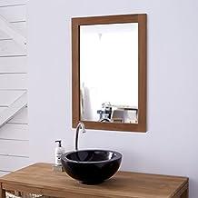 Amazon Fr Miroir Salle De Bain En Teck Tikamoon