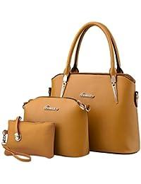 Kadcope Bolsos de la mujer de Bolsos de cuero de Crossbody del cuero sólido Nuevo bolso + bolso del bolso + bolso del diseño 3pcs a Conjuntos Khaki