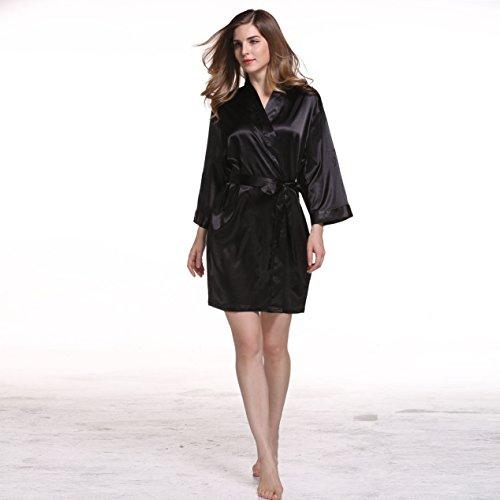 manica lunga striscia di seta pigiama Pigiama materiale solido di seta tunica Black