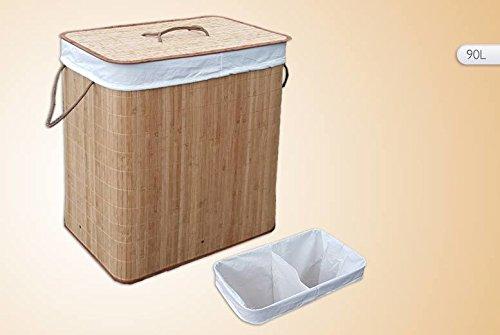 Cesta de lavadero Natural de bambú con forro desmontable tapa plegable 2 secciones 90L