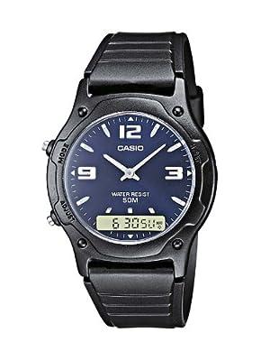 CASIO Collection AW-49HE-2AVEF - Reloj de caballero de cuarzo, correa de resina color negro (con cronómetro, alarma)