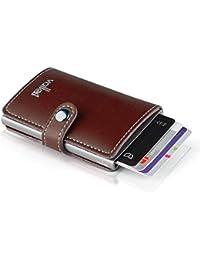 58d01d164f9cbf VALLET® - Premium Kreditkartenetui - echtes Leder – 5-8 Karten - RFID NFC  Schutz - Moderne Mini-Geldbörse - Geldbeutel für…