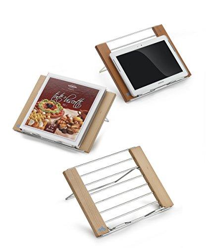 ARIS LECTOR - Leggìo da tavolo pieghevole porta libri / tablet / ricettari per robot da cucina - in faggio massiccio e acciaio cromato - MADE IN ITALY - finitura ciliegio