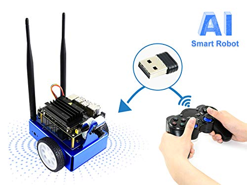 Waveshare NVIDIA JetBot AI Kit Smart Robot Based on Jetson Nano Developer Kit with The Intelligent Eye Front Camera for Facial Recognition Object Tracking Auto Line Following and Collision Advance -