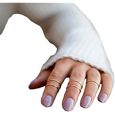 Cougar S Choice® Slim Knuckle Midi Ring Set de 5anillos de apilamiento Midi Anillos de oro)