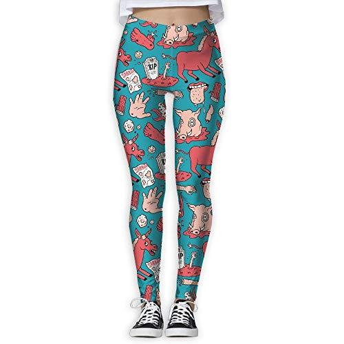KLing Metrisches System Tag Deas Schwein Scary Horse Zombie Frauen Sport Laufen Yoga Workout Leggings Hosen Hosen,XL