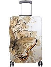 Preisvergleich für COOSUN Blumenhintergrund Mit Schmetterlings-Druck-Reise-Gepäck Schutzabdeckungen Waschbar Spandex Gepäck Koffer...