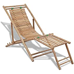 yorten Tumbona de Bambú Silla de Jardín con Reposapiés 4 Ajustes de Altura con Diseño Ergonómico 152 x 59 x 80 cm