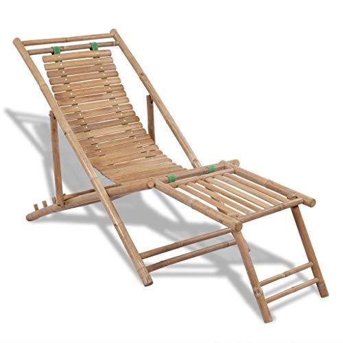 tidyard Liegestuhl Bambus mit Fußstüze Ergonomische Relaxliege Garten Bambusliegestuhl -