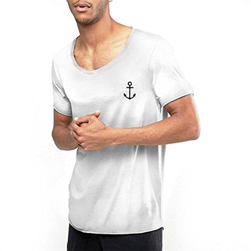VIENTO Elegant Anchor Herren Round Collar, T-Shirt (WeiB, M)