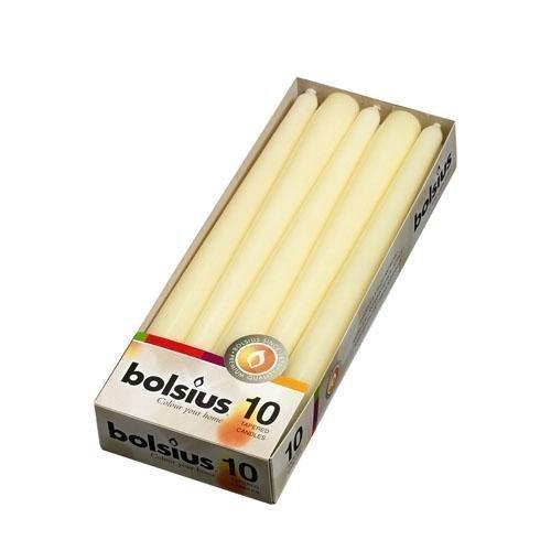 White candle company bolsius - 10 candele da tavolo anti-gocciolamento, 25 cm, bruciano per 7.5 ore, stile cero; colore: avorio