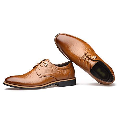 Qimaoo Herren Anzugschuhe Business Schuhe Lederschuhe Glattleder aus nachgemachtes Krokodilmuster für Beruf und Anzug