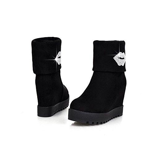 AgooLar Damen Ziehen Auf Hoher Absatz Blend-Materialien Rein Mitte-Spitze Stiefel Schwarz
