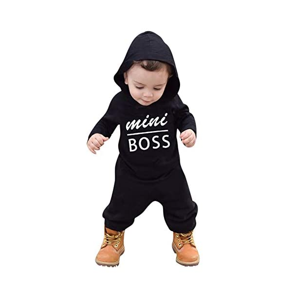 Trisee Ropa de Unisexo bebé Niñas Niños Manga Larga Otoño Invierno Patrón de Letras Camisetas Recien Nacido Trajes Monos… 4