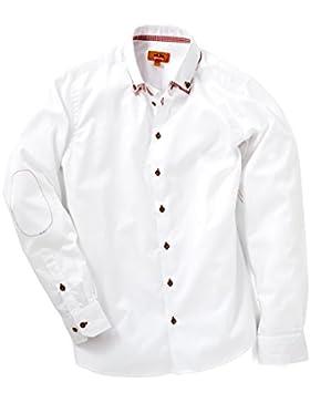 Maddox Herren Trachtenhemd weiß mit vers. Farben reine Baumwolle