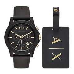 Idea Regalo - Armani Exchange Orologio Cronografo Quarzo Uomo con Cinturino in Silicone AX7105