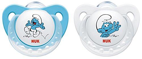 NUK 10175160 Die Schlümpfe Trendline Silikon-Schnuller, kiefergerecht, BPA frei, 2 Stück, 0-6 Monate, blau
