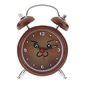 "1.5""Cartoon Smiling Face Pattern Analog Quartz Alarm Clock (Coffee,AG13 Button Cell)"