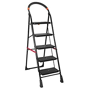 PAffy Milano5-MF High Tensile Steel 5-Steps Folding Ladder (Black)