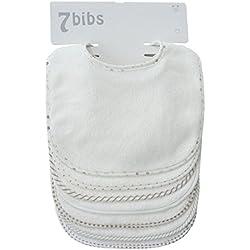 Lot de 7 bavoirs double épaisseur pour bébé en coton doux et absorbant (white)