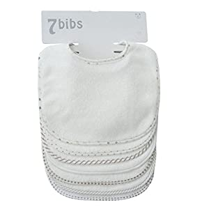 Beb-Nios-Nias-Doble-Capa-Algodn-Bandana-Drool-Suave-Absorbente-baberos-7-piezas-blanco-blanco-Tallamediano
