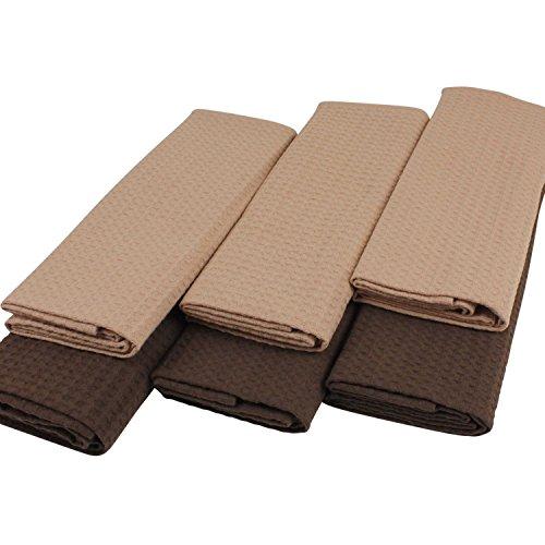 K&G GH00 6er Set Design Geschirrtücher Beige/Braun | 100% Baumwolle | Waffel-Pique | 50x70 cm| Küchen-Handtücher | Strapazierfähig | Tockentuch