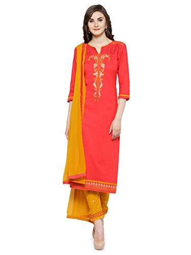 Kvsfab Women's Peach & Yellow Unstitched Salwar Kameez Material [KVSSK10067SDRS_3]
