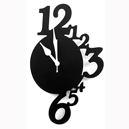 Cloacker Black Wooden Wall Clock Analog Without Glass