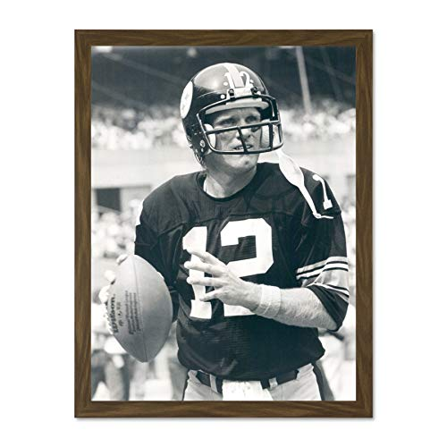 Doppelganger33 LTD Sport Terry Bradshaw American Football Steelers Black White Large Framed Art Print Poster Wall Decor 18x24 inch Supplied Ready to Hang - Art Print Terry
