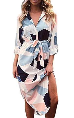 ECOWISH Sommerkleider Damen Langarm V-Ausschnitt Strand Blumen Kleider Abendkleid Knielang Weiß-Langarm