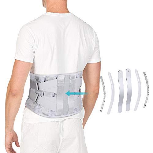 Fascia elastica lombare, fascia lombare con strisce di alluminio curve e pannelli in mesh traspiranti, doppio cinturino regolabile per ernia del disco, sciatica, sollievo dal dolore e prevenzione (m)