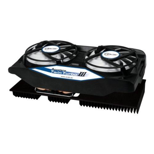 ARCTIC Accelero Twin Turbo III – dissipateur thermique multicompatible pour carte graphique avec dissipateur thermique arrière pour un refroidissement amélioré de la RAM et du convertisseur de tension – ventilateur de carte graphique pour AMD R9 270 / R9 270X / 7870 / 7850 ; GTX Titan / 780 / 780 Ti / 680 et autres...