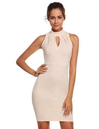 Meaneor Damen Ärmellos Neckholder Kleid Business figurbetontes Etuikleid Knielang Cocktailkleid...