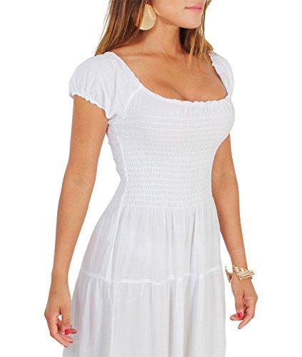 KRISP Damen Boho Maxi Kleid Einfarbig Bodenlang Weiß