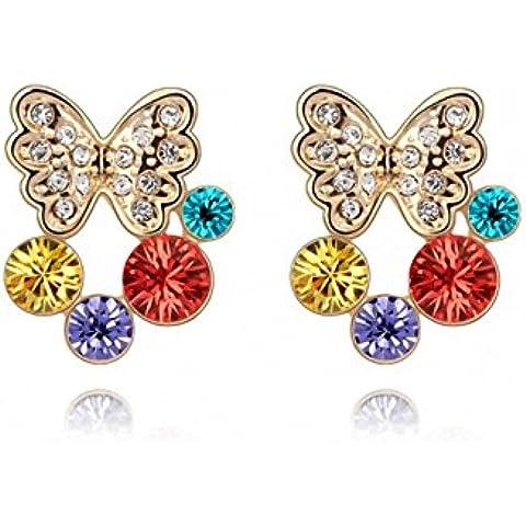 TAOTAOHAS cristallo orecchini della vite prigioniera [ farfalla Ambilight], 18KGP Rhinestone