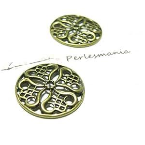Apprêt bijoux 1 Pendentif connecteur Médaille fleur Bronze