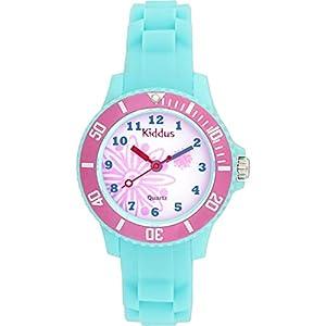 Kinder Armband Uhr für Mädchen und Jungen, Silikonarmband, japanischer Quarzmechanismus, Lange andauernd Batterie, in Geschenk-Box, Kiddus